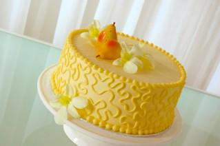 Yellow cake with fruit