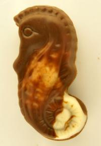 A seahorse made from chocolate