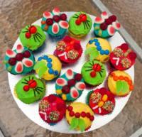 Cupcakes decorated like creepy crawlers