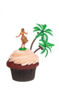 Cupcake with hula girl topper