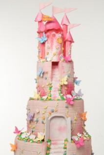 Pink fondant castle