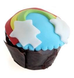 fondant rainbow cupcake