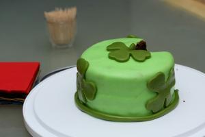 Fondant shamrock cake.