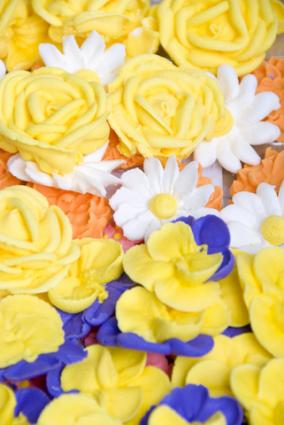 Assorted royal icing flowers