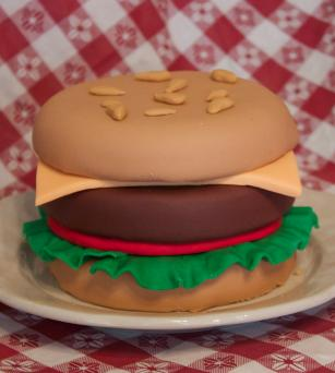 rolled fondant hamburger cake