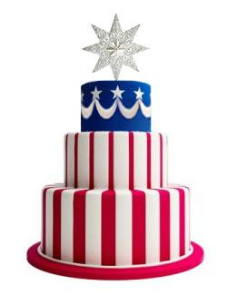 Tiered Flag Cake with Stripes and Swags
