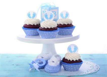 Blue cupcakes for baby shower