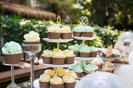 Cupcakes on stands at party
