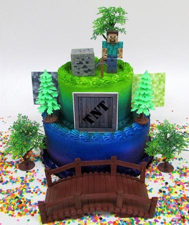 Tiered Minecraft scene cake