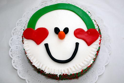 Christmas snow man cake