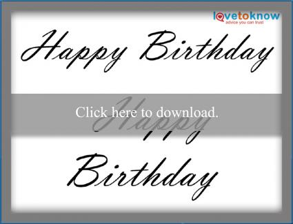 script Happy Birthday pattern