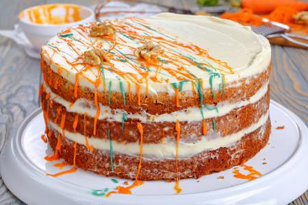Blue and Orange Drizzled Carrot Cake