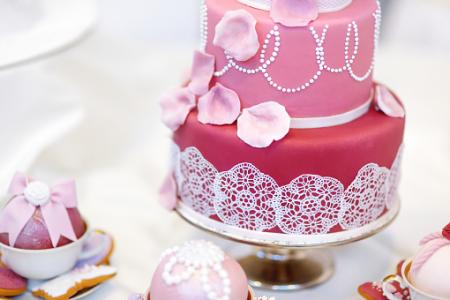 cake decorated with ribbons