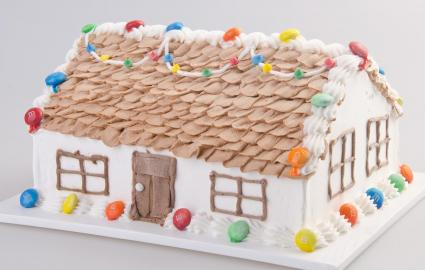 House shaped cake decorated with candy