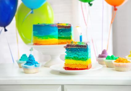 Rainbow cake with birthday candle