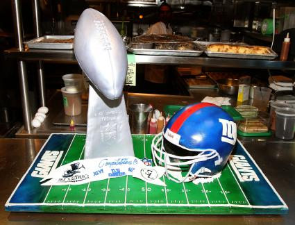 General view of the cake at the Tequila Avion Super Bowl XLVI Championship dinner