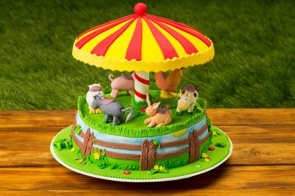 Farm Animal Carousel Cake