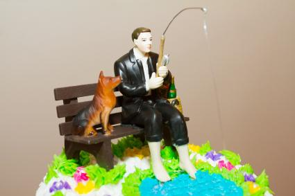 Fishing with dog cake