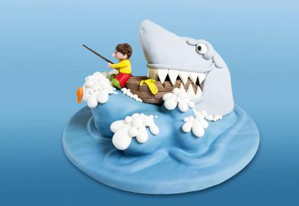 Funny shark fishing cake