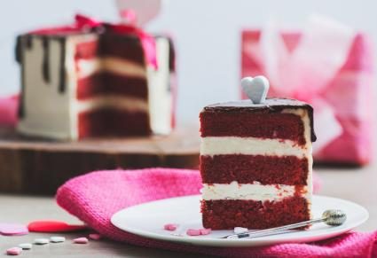 Cake with Valentine Day decoration