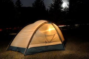 Lanterns brighten a tent