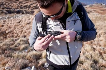Hiker with GPS Device