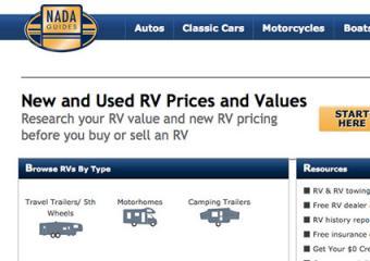 screenshot of http://www.nadaguides.com/RVs