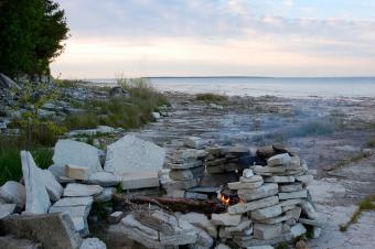 Campfire at Rock Island primitive campsite