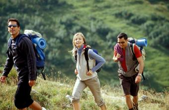 Backpackers on hike