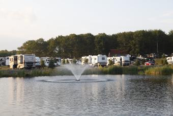 Water feature with RVs in background