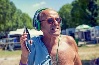 man at nudist campground