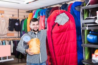 Customer shopping for sleeping bags