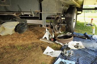 Repairing travel trailer axle