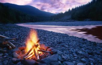 Campfire near the lake