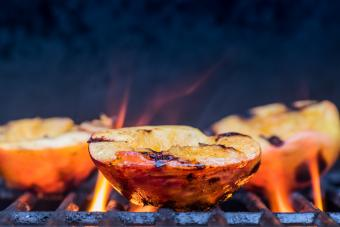 Grilled Peaches and Flames caramelize
