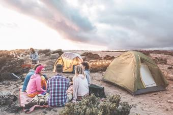friends camping in the desert