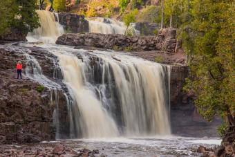 Majestic view of waterfall