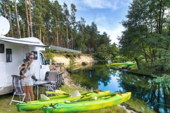 Summer holiday in a Rv with a canoe