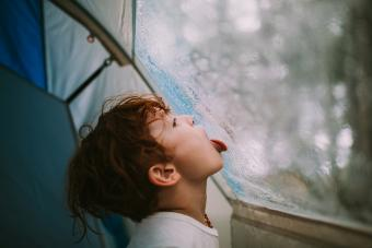 Child licking raindrops from tent wall
