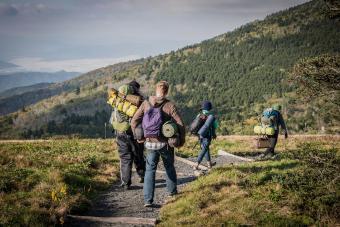 Friends hiking on Appalachian Trail