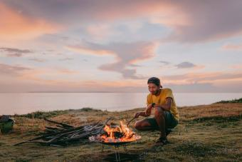 Man enjoying campfire