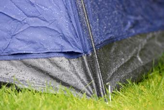 rain running down sides of a small tent