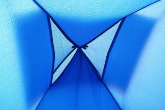 Blue Tent During Rainy Season