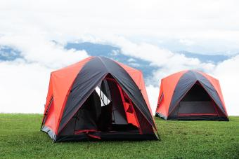 Tent On Field Against Sky