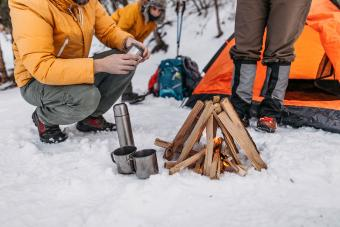 Family camping in winter vacation