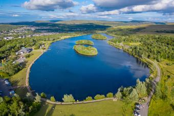 Aerial view of Bryn Bach Park near the town of Tredegar in the South Wales Valleys