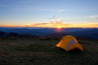 Yellow tent mountains