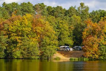 Motorhomes at lake - Getty Editorial Use