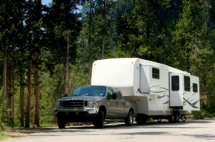 Expanding camping trailers provide additional living space.