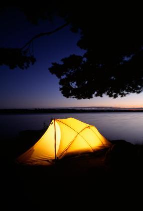 Tent by a lake